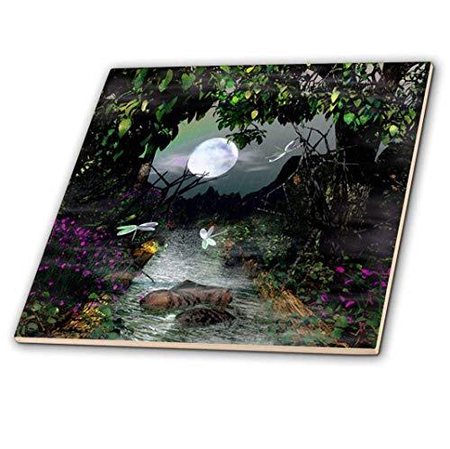 - 3dRose ct_60821_4 Creek, Moon Nature Scene Ceramic Tile, 12