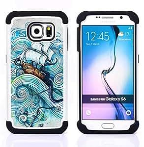 """Samsung Galaxy S6 / SM-G920 - 3 en 1 impreso colorido de Altas Prestaciones PC Funda chaqueta Negro cubierta gel silicona suave (Vela Buque Sea Storm Océano Capitán"""")"""