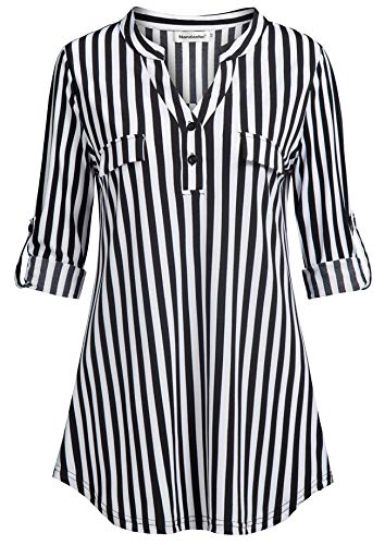 Nandashe Stripe Shirts for Women, Teenage Girl Cute Plain Notch-v Collared 3/4 Cuff Sleeves Prime Relaxed Fitted Western Flattering Drape Tunic Blouse with Flaps Daily Life Wear US Size 8 Black White