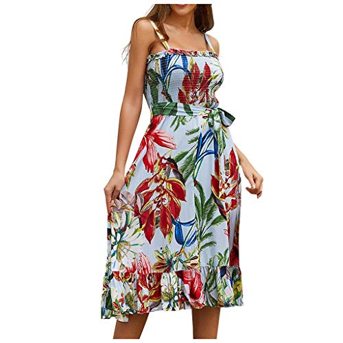Sunhusing Summer Ladies Ruffled Off-Shoulder Tube Top Straps Print Belt Lace-Up Knee Length Camisole Dress Light Blue