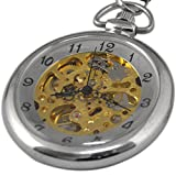 VIGOROSO Men's Stainless Steel Arabic Numbers Steampunk Gold Skeleton Hand wind Pocket Watch