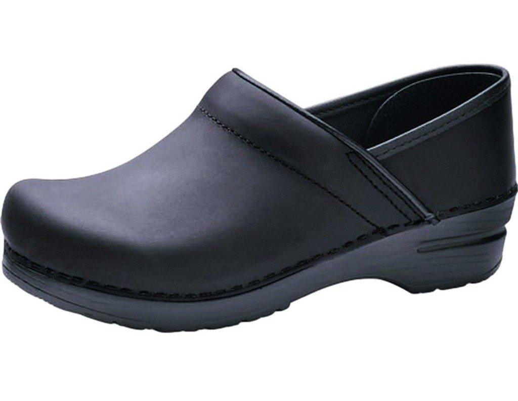 Professional Stapled Clog By Dansko Unisex Nursing Shoe Black Oiled by Dansko