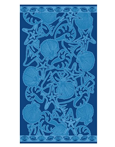Cotton Reversible Towel - Espalma Over Sized Luxury Beach Towel, Large Size 70 Inch x 40 Inch Soft Velour and Reversible Absorbent Cotton Terry, Thick and Plush Jacquard Beach Towel, Shell Festival