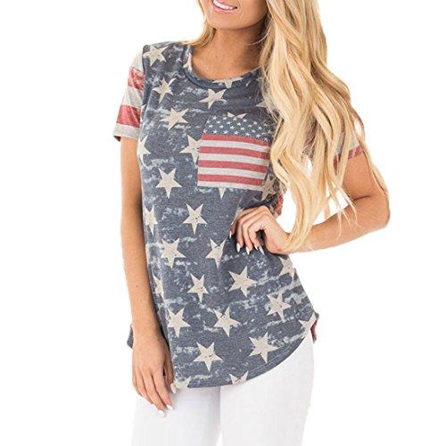 Womens USA Flag Printed Pullover Casual Summer T-Shirt M 1