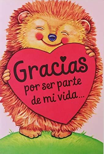 Gracias Por Ser Parte de Mi Vida - Por Darme Tu Amistad - Friendship Greeting Card for Friend Amigo Amiga in Spanish Espanol with Hedgehog