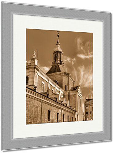 Ashley Framed Prints Iglesia Del Sacramento A Baroquestyle Roman Catholic Church Located In Madrid, Wall Art Home Decoration, Sepia, 35x30 (frame size), Silver Frame, AG6512626 by Ashley Framed Prints