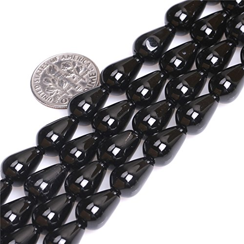 8x12mm Natural Semi Precious Drop Black Agate Gemstone Beads for Jewelry Making Strand (8x12mm Bead)