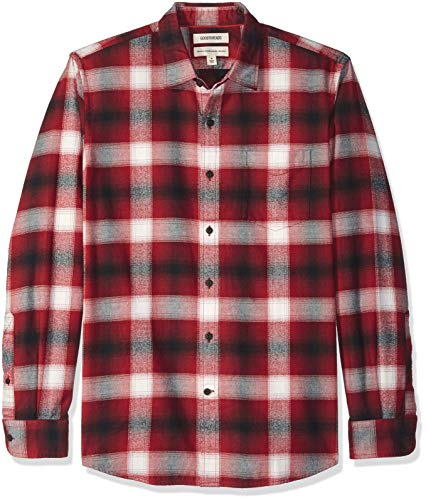 Goodthreads Men's Standard-Fit Long-Sleeve Brushed Flannel Shirt, red Shadow Plaid, XXX-Large (3 Button Flannel)