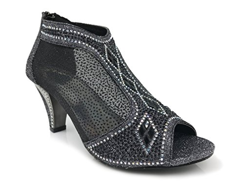 Kinmi26 Womens Open Toe Mid Heel Wedding Rhinestone Gladiator Open Toe Mesh Sandal Wedge Shoes (8, Black)