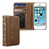 kwmobile Stylish wallet synthetic leather case book style Vintage design for Apple iPhone SE / 5 / 5S