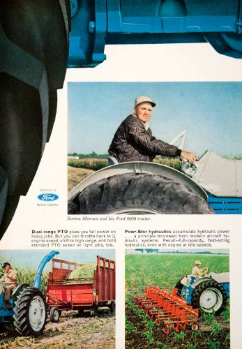 1964 Ad Ford 6000 Tractor Plow Burton Mennen Walton Indiana Agriculture Farming - Original Print Ad from PeriodPaper LLC-Collectible Original Print Archive