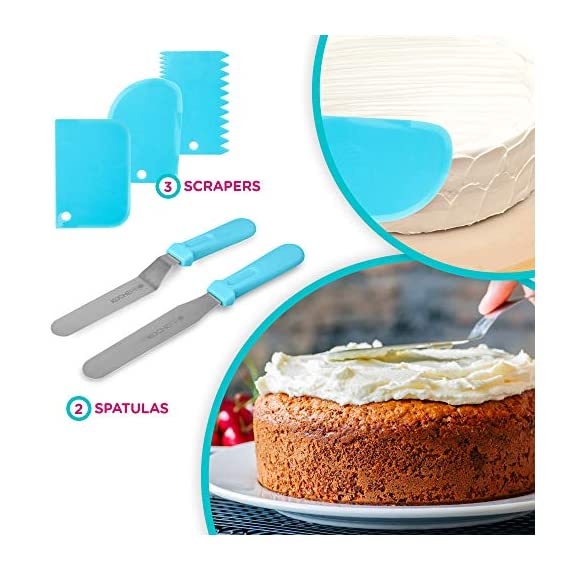 135-Piece Premium Cake Decorating Supplies Kit - Includes Cake Turntable Stand, 55 Numbered Icing Tips, 4 Piping Couplers, 1 Silicone Pastry Bag, 50 Disposable Pastry Bags & Many More Decorating Tools 8 ✔ LARGE ULTIMATE CAKE DECORATING KIT: KuchePro offers the largest cake decorating supplies set you can buy with a whopping 135 pieces. Whether you a casual weekend cake baker or a professional with your own TV show, our set has everything you will need. We want to provide you with all the essential top-quality cake decorating tools at a great value. ✔ OUR CAKE DECORATING SUPPLIES SET HAS IT ALL: Here's what you will get in our premium cake decorating kit- 1 Cake Turntable with Non-Slip Silicone Base, 55 Numbered Icing Tips, 4 Icing Bag Couplers, 1 Reusable Silicone Pastry Bag, 50 Disposable Pastry Bags, 1 Cake Leveler with Two Strings, 1 Cake Writing Pen, 1 Cake Smoother, 1 Icing Tip Cleaning Brush, 2 Cake Flower Nails, 1 Cake Flower Lifter, 3 Frosting Scrapers, 2 Cake Decorating Spatulas, 12 Silicone Pastry Bag Ties. ✔ SAFE, HIGH-QUALITY MATERIALS: The KuchePro 135-Piece Cake Decorating Supplies Kit are made from 100% food grade quality materials that are built to last so you can create beautiful looking cakes for years and years. BPA free silicone tools, non-toxic plastics, and all cake decorating tools and accessories are dishwasher safe.