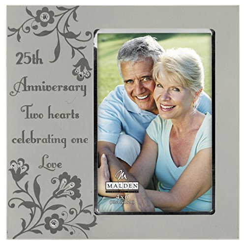 Malden International Designs 25th Anniversary Two Hearts Celebrating one Love Picture Frame, 4x6, Silver ()