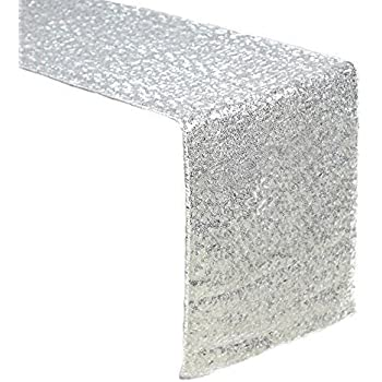 Sequin Table Runners SILVER AMAZLINEN 12 X 108 Inch Glitter SILVER Table  Runner SILVER