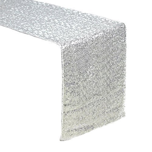 Sequin Table Runners SILVER-AMAZLINEN 12 X 108 Inch Glitter SILVER Table Runner-SILVER Party Supplies Fabric Decorations For Wedding Birthday Baby Shower (Silver Glitter Solid)