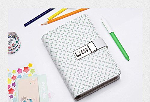 JunShop PU Leather Journals Note books Secret Diary with Lock Password Lined, Locking Journal DiaryLoose Leaf Password Diary