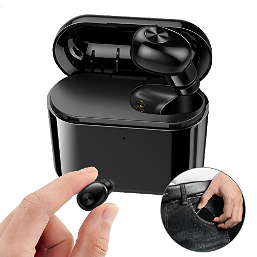 Mini Bluetooth Earbud Invisible Single Wireless Headphone BT V4.1 Small Earpiece Hands-Free Calls Car Headset with Charging Case Earphone Mic for Adriod and iOS Phones 1Pcs Black (Single Earbud Cell Phone)