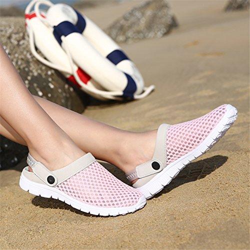 SAGUARO® Unisex del verano de malla transpirable zapatos de ocio punta cerrada deslizadores de las sandalias de playa Rosado