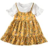Kasien Toddler Baby Girls Dress, Toddler Baby Kids Girls Fly Sleeve Ruched Floral Flowers Print Dresses Clothes