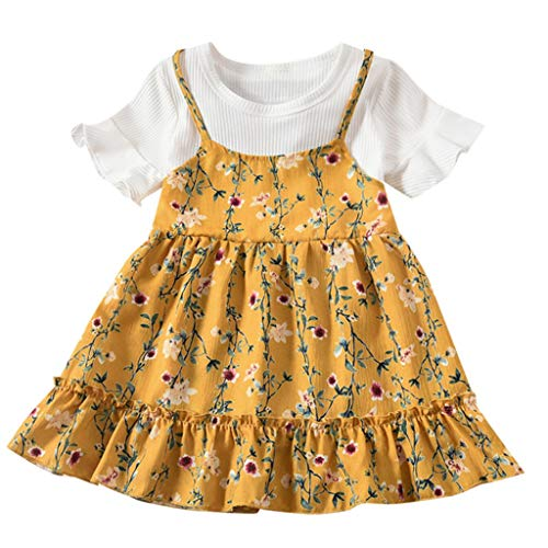AutumnFall Cute Toddler Kids Baby Girl Clothes Ruffle Tops Bib Tutu Skirt Dress Outfit Clothes 12M-3Y (Age:18-24Months, Yellow)