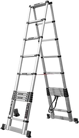 Escalera extensible Escalera telescópica Mighty Multi Telescoping Ladder, escalera de extensión plegable de aluminio profesional multiusos con barra estabilizadora, carga 330 lbs. (Size : 2.9m+2.9m) : Amazon.es: Hogar