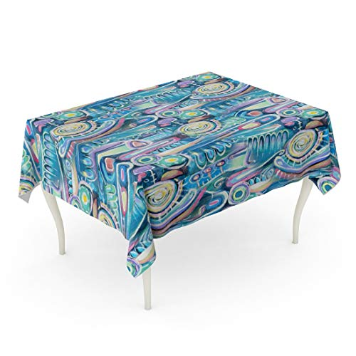 Tarolo Rectangle Tablecloth 52 x 70 Inch Abstract Canvas Bouquet of Flowers Sea Blooming Peas Turquoise Color Composition Aztec Maya Incas Pattern Upper Part The Stick Table Cloth