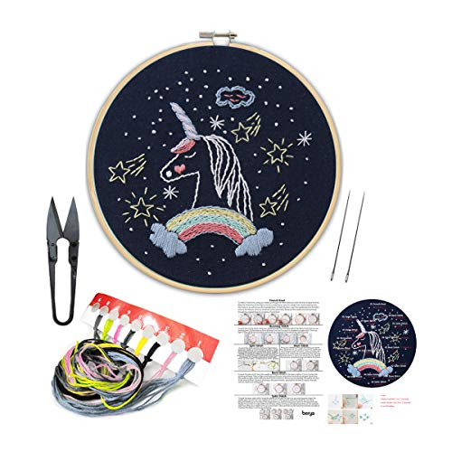 Handmade Embroidery Kit Set with Instruction for Beginners -Goodnight Series Needlepoint Kits for Home - Beginner Kit Embroidery