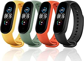Monuary Straps for Xiaomi Mi Band 5, Colourful Replacement Bracelet in Anti-Lost Silicone Designed Fitness Tracker...