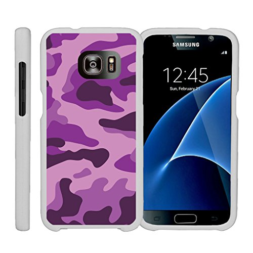(MINITURTLE Case Compatible w/ [Samsung Galaxy S7] [Design on White Case] Lightweight Cell Hard Cover w/Cute Design Patterns Galaxy S7 Case Purple Camouflage)