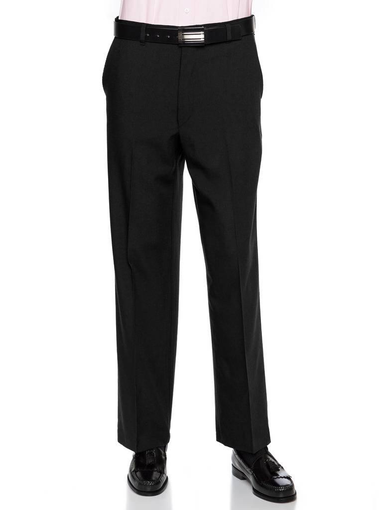 RGM Mens Flat Front Dress Pants – Wool Blend Long Formal Pants for Men, Made in US Black 42 Short