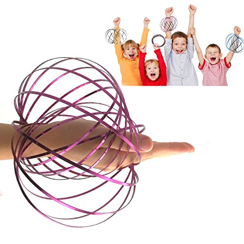 (JRD&BS WINL Magic Flow 3D Kinetic Ring Spring Toy Outdoor Game Intelligent Relax, Stainless Metal Galactic Globe Funny Toys for 3-12 Year Old Girls to Play(Purple))
