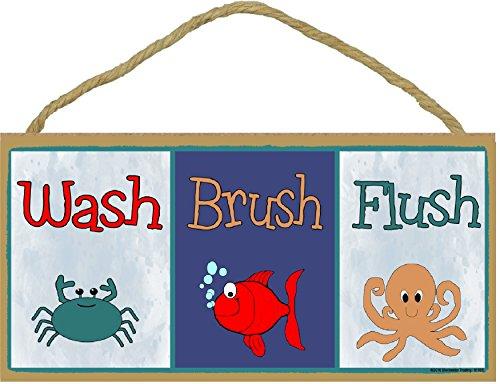 Blackwater Trading Wash Brush Flush Fish Crab Octopus Bathroom Sign Plaque - Fish Bathroom Decor