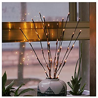 2 Pack Branch Lights - Led Branches Battery Powered Decorative Lights Tall Vase Filler Willow Twig Lighted Branch for Home Decoration Warm White - 30 Inches 20 LED Lights (Branches Light) - BATTERRY OPERATED for Safe and Easy Use: 2pc AA battery powered, 3V input voltage, completely safe for operation; And the cord and battery box can be easily hid in the vase out of sight, avoid the annoying AC cord connection. BRANCHES BENDABLE for DIY Crafting: Branches are bendable, you can adjust them, make them twist, or pull them up or down to create your own natural look. LIGHTED BRANCHES SPECIFICATION: Each willow branch light comes with 5 bendable stems, 20 inches tall, and 20 led warm white color light bulbs. - vases, kitchen-dining-room-decor, kitchen-dining-room - 51UuhCo8ywL. SS400  -