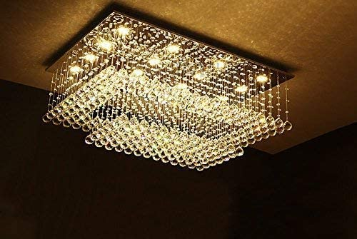 Modern Contemporary Rectangular Chandelier for Living Room Flush Mount Ceiling Lighting Fixture Crystal Chandelier, H14 xW36 xDepth24 , 16 LED Lights, Warm White