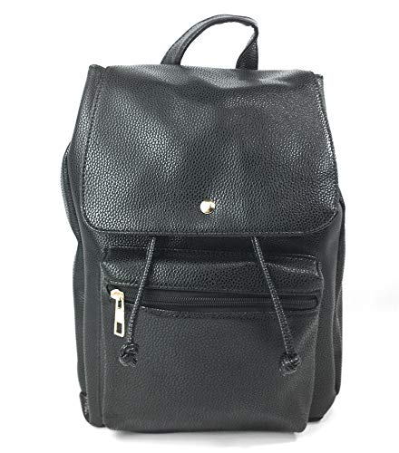 Black Casual Leather Shoulder Ladies Travel Bag Backpack PU Flap for Button Women Daybag School Purse Bag gYq5xAw