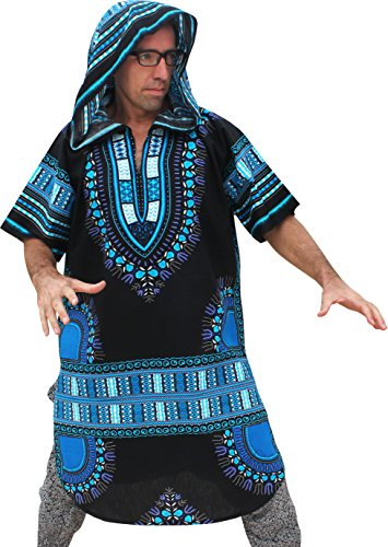 RaanPahMuang African Dashiki Long Urban Warlock Jacket Hood Hoody Fashion, Medium, Blue On Black by RaanPahMuang