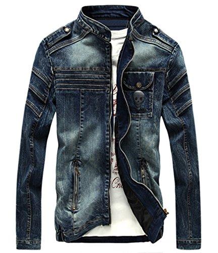 Nanquan ssx TM Men's Punk Skull stand up collar Motorcycle Denim Blouse Jacket Coat Blue