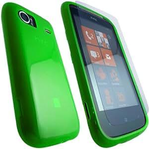 ONX3 HTC 7 Mozart verde protección de la piel del gel + LCD Protector de pantalla