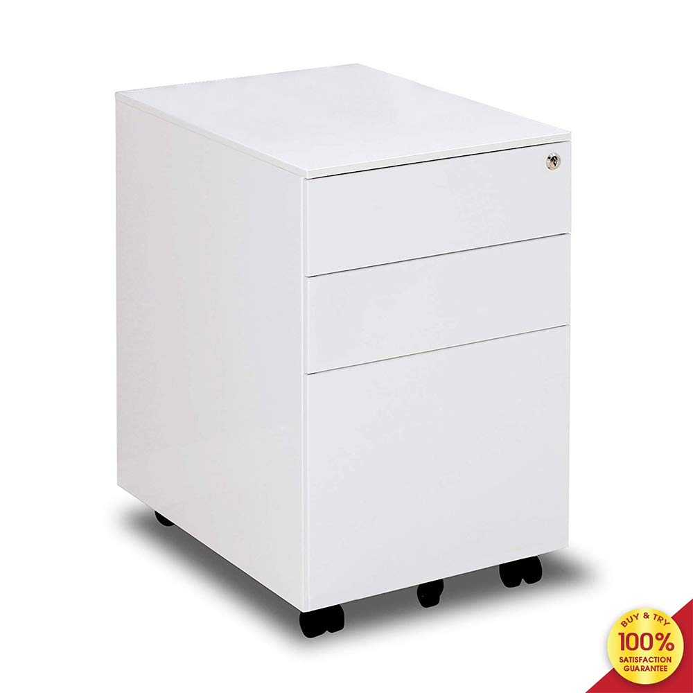 3-Drawer Mobile File Cabinet with Keys Fully Assembled Except Casters, White by Hooseng