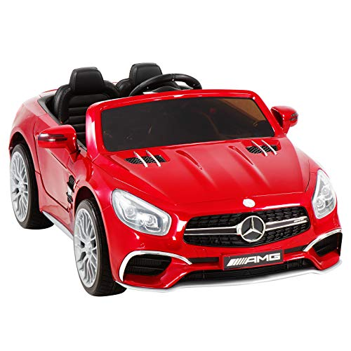 Uenjoy 12V Ride On Cars Licensed Mercedes-Benz SL65 AMG Electric Cars for Kids, RC Remote Control, LED Lights, Spring Suspension, Kiddie Ride, Safety Lock, Red (Rc Cars Electric)