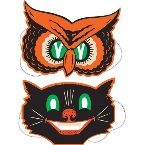 Beistle 2-Pack Owl and Cat Masks, 9-1/2-Inch