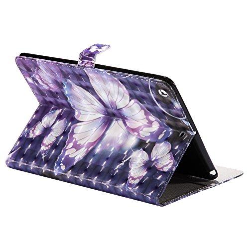 iPad 2017 9.7 Zoll Hülle Case, Apple iPad 9.7 Zoll 2017 Smart Hülle, Cozy Hut iPad 2017 9.7 Zoll Abnehmbarer Lederhülle Case PU Leder Tasche Smart Cover Case Lederhülle hülle für Apple iPad 9.7 Zoll 2 Lila blauer Schmetterling