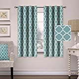 low budget patio ideas Thermal Insulated Blackout Curtains Energy Smart Saving Grommet Panels for Kitchen Windows- 52 inch Width by 63 inch Length- Set of 2 Panels- Moroccan Tile Quatrefoil Pattern in Smoke Blue