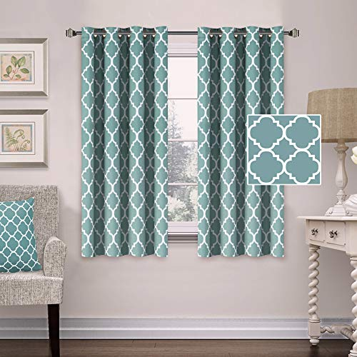 Thermal Insulated Blackout Curtains Energy Smart Saving Grommet Panels for Kitchen Windows- 52 inch Width by 63 inch Length- Set of 2 Panels- Moroccan Tile Quatrefoil Pattern in Smoke Blue