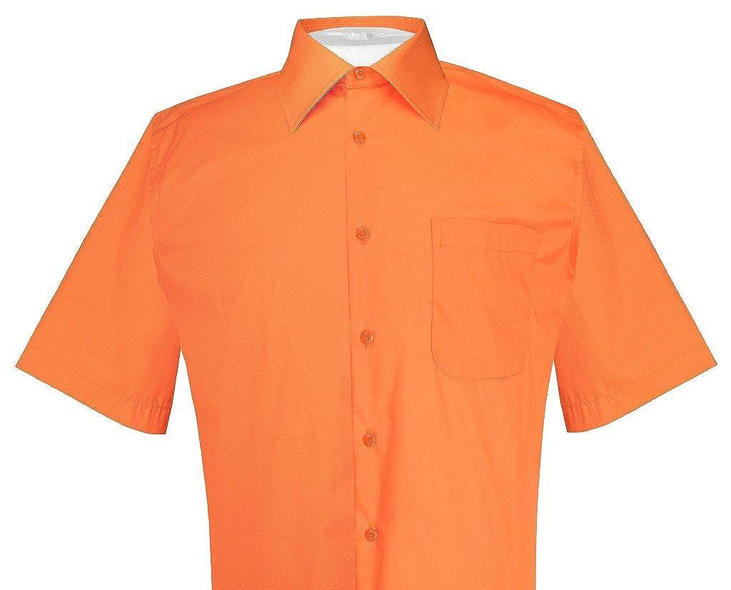Biagio 100 Cotton Mens Short Sleeve Solid Burnt Orange Color Dress