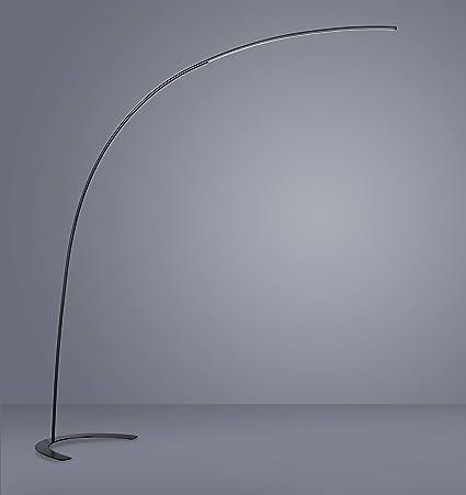 lámpara de pie de pie Curva de arco Moderna negra LED 18 W ...