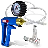 LeLuv Vacuum Pump Maxi Blue Handle with Rubber Protected Gauge Natural Body Enhancement Nipple Suction Cups Small