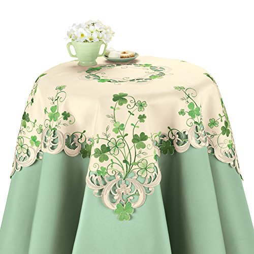 Collections Etc Embroidered Irish Shamrock Table Linens, Square