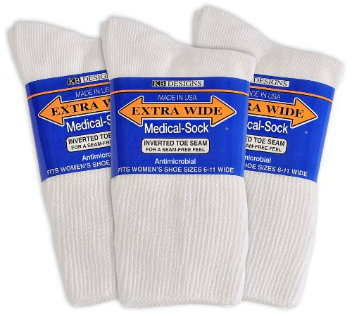 Extra-Wide Medical (Diabetic) Socks for Women (White), size - Womans Shoes For Swollen Feet