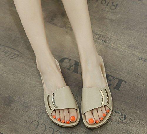 Sra Sólido Summer Redondas Botón Planas La New De Zhhzz Zapatillas Sandalias Metal Liangxie Albaricoque gvqxn5Rfwv